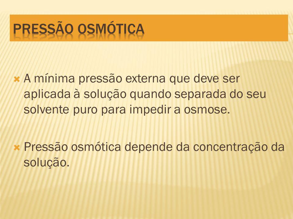 A mínima pressão externa que deve ser aplicada à solução quando separada do seu solvente puro para impedir a osmose.