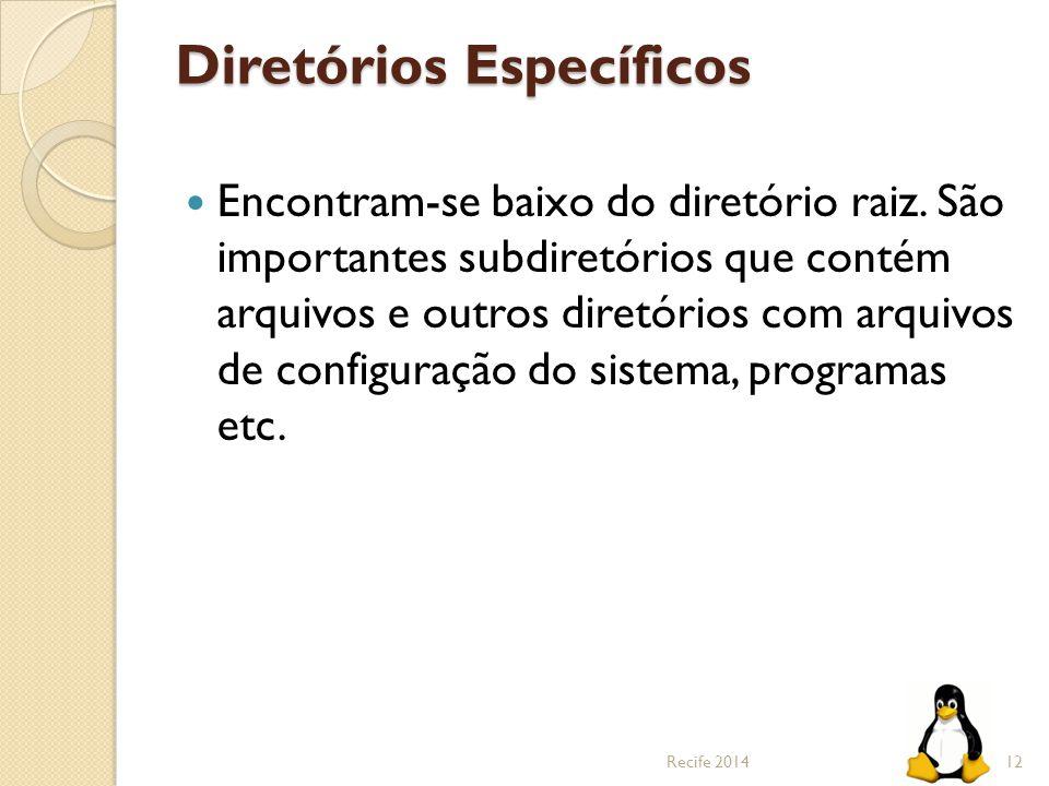 Diretórios Específicos Encontram-se baixo do diretório raiz. São importantes subdiretórios que contém arquivos e outros diretórios com arquivos de con