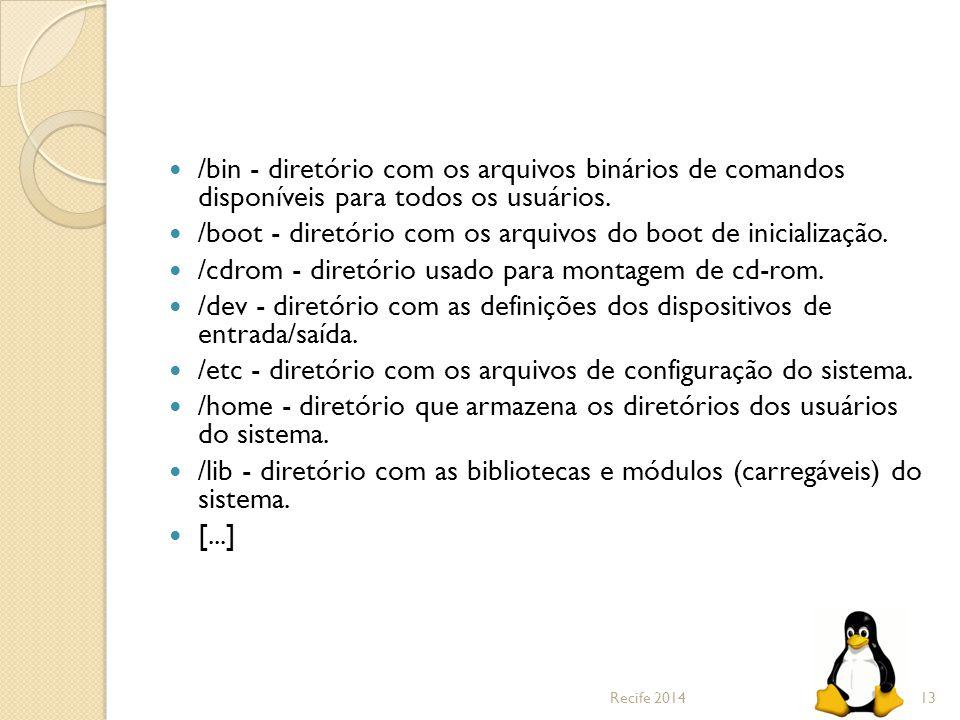/bin - diretório com os arquivos binários de comandos disponíveis para todos os usuários. /boot - diretório com os arquivos do boot de inicialização.