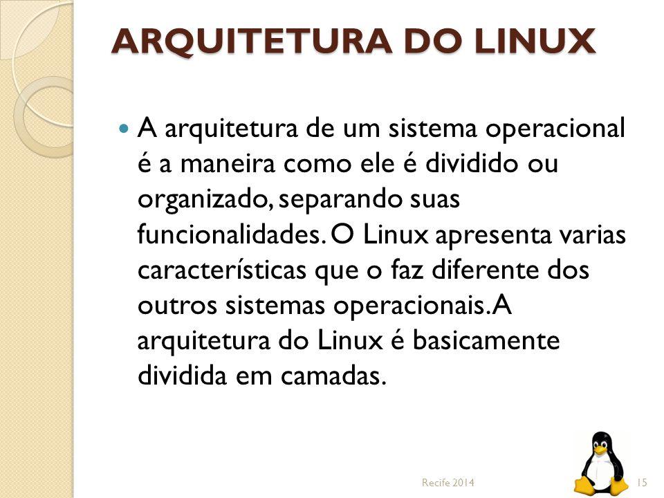 ARQUITETURA DO LINUX A arquitetura de um sistema operacional é a maneira como ele é dividido ou organizado, separando suas funcionalidades. O Linux ap