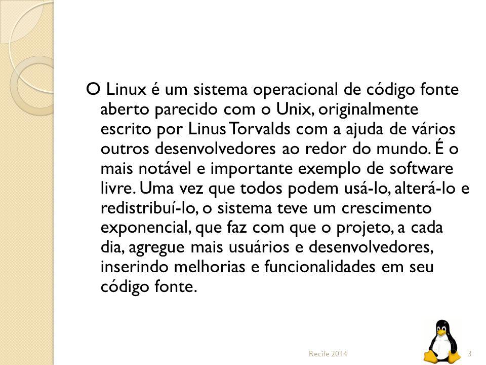 O Linux é um sistema operacional de código fonte aberto parecido com o Unix, originalmente escrito por Linus Torvalds com a ajuda de vários outros des
