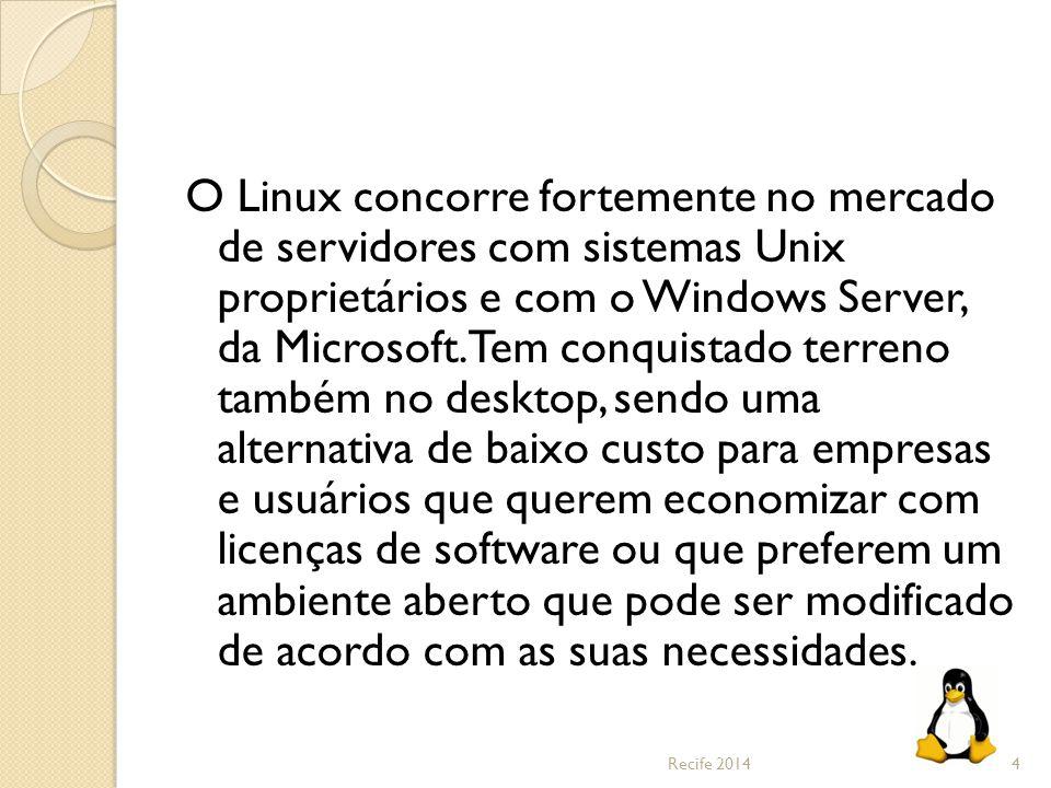 O Linux concorre fortemente no mercado de servidores com sistemas Unix proprietários e com o Windows Server, da Microsoft. Tem conquistado terreno tam