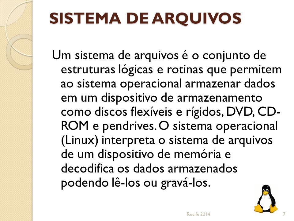 SISTEMA DE ARQUIVOS Um sistema de arquivos é o conjunto de estruturas lógicas e rotinas que permitem ao sistema operacional armazenar dados em um disp