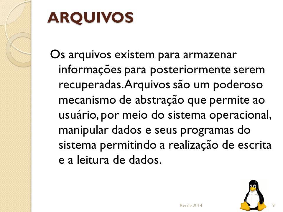 ARQUIVOS Os arquivos existem para armazenar informações para posteriormente serem recuperadas. Arquivos são um poderoso mecanismo de abstração que per