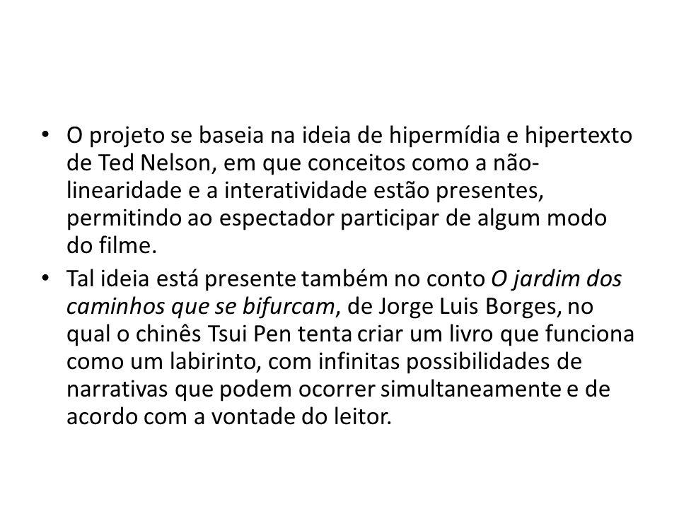 O projeto se baseia na ideia de hipermídia e hipertexto de Ted Nelson, em que conceitos como a não- linearidade e a interatividade estão presentes, permitindo ao espectador participar de algum modo do filme.