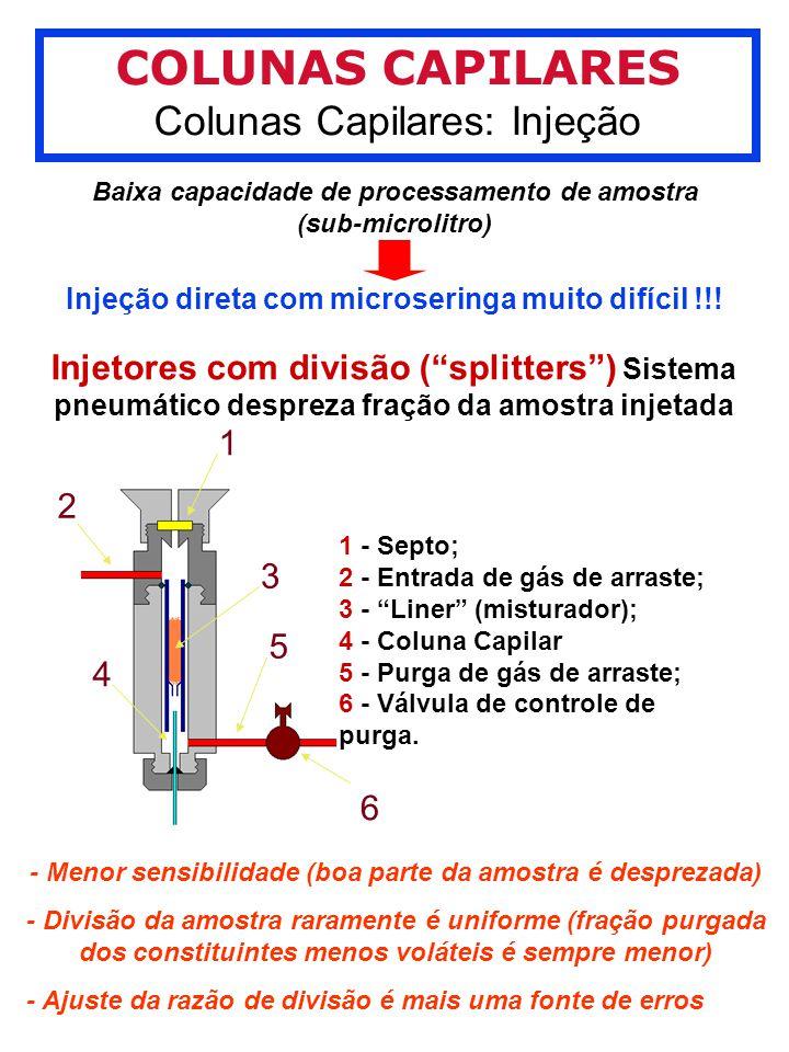 COLUNAS CAPILARES Colunas Capilares: Injeção 1 2 3 4 5 6 1 - Septo; 2 - Entrada de gás de arraste; 3 - Liner (misturador); 4 - Coluna Capilar 5 - Purga de gás de arraste; 6 - Válvula de controle de purga.