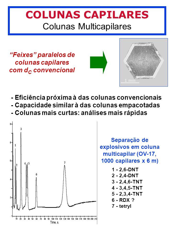 COLUNAS CAPILARES Colunas Multicapilares Feixes paralelos de colunas capilares com d C convencional - Eficiência próxima à das colunas convencionais - Capacidade similar à das colunas empacotadas - Colunas mais curtas: análises mais rápidas Separação de explosivos em coluna multicapilar (OV-17, 1000 capilares x 6 m) 1 - 2,6-DNT 2 - 2,4-DNT 3 - 2,4,6-TNT 4 - 3,4,5-TNT 5 - 2,3,4-TNT 6 - RDX .