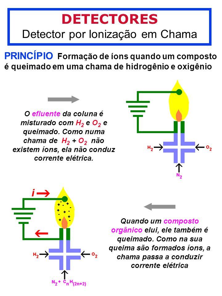 DETECTORES Detector por Ionização em Chama PRINCÍPIO Formação de íons quando um composto é queimado em uma chama de hidrogênio e oxigênio O efluente da coluna é misturado com H 2 e O 2 e queimado.