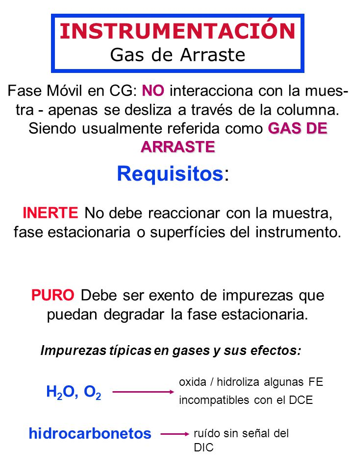 INSTRUMENTACIÓN Gas de Arraste Fase Móvil en CG: NO interacciona con la mues- GAS DE ARRASTE tra - apenas se desliza a través de la columna.