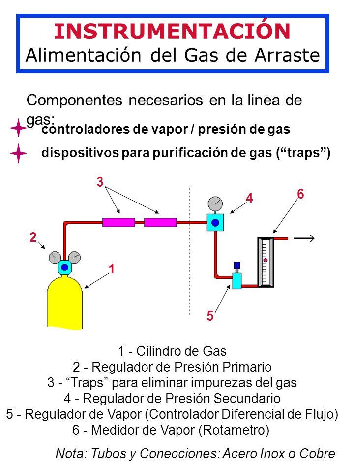 INSTRUMENTACIÓN Alimentación del Gas de Arraste Componentes necesarios en la linea de gas: controladores de vapor / presión de gas dispositivos para purificación de gas (traps) 1 2 3 4 5 6 1 - Cilindro de Gas 2 - Regulador de Presión Primario 3 - Traps para eliminar impurezas del gas 4 - Regulador de Presión Secundario 5 - Regulador de Vapor (Controlador Diferencial de Flujo) 6 - Medidor de Vapor (Rotametro) Nota: Tubos y Conecciones: Acero Inox o Cobre