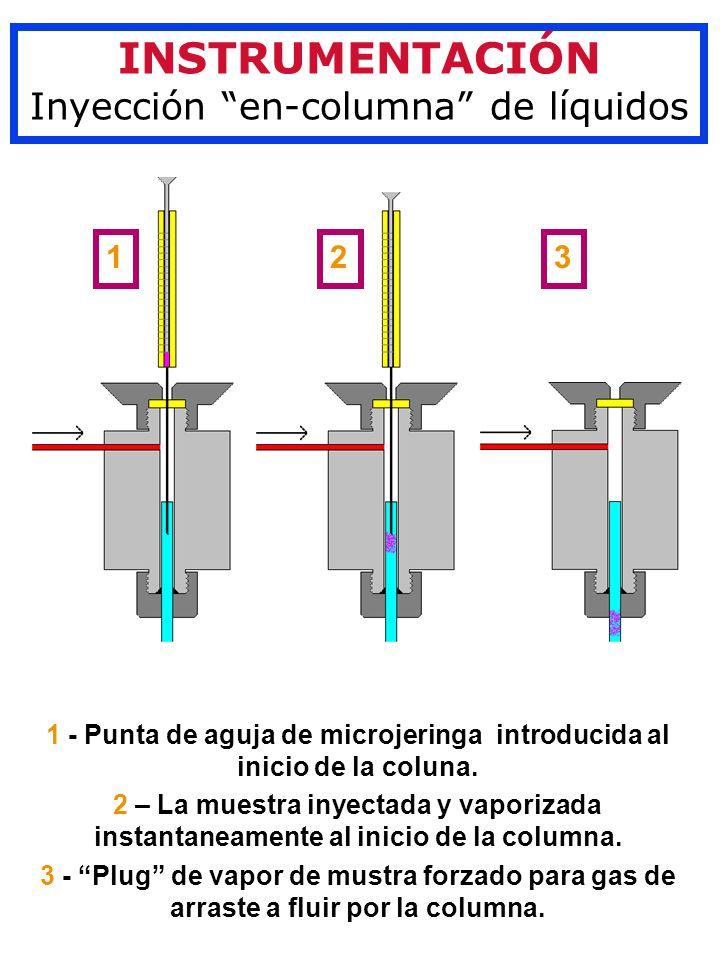 INSTRUMENTACIÓN Inyección en-columna de líquidos 1 2 3 1 - Punta de aguja de microjeringa introducida al inicio de la coluna.