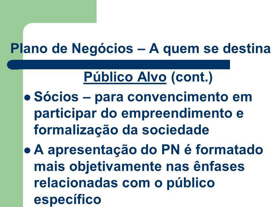 Plano de Negócios – A quem se destina Público Alvo (cont.) Sócios – para convencimento em participar do empreendimento e formalização da sociedade A a