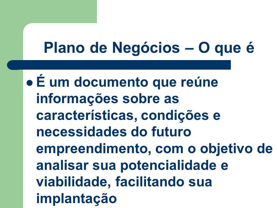 Plano de Negócios – O que é É um documento que reúne informações sobre as características, condições e necessidades do futuro empreendimento, com o ob