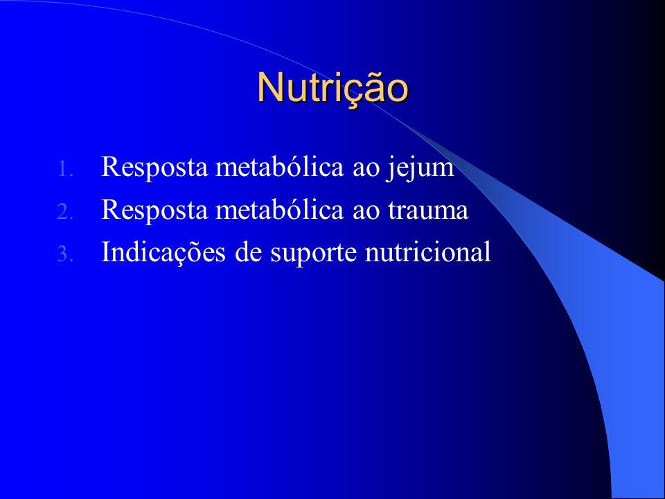 Nutrição 1. Resposta metabólica ao jejum 2. Resposta metabólica ao trauma 3. Indicações de suporte nutricional