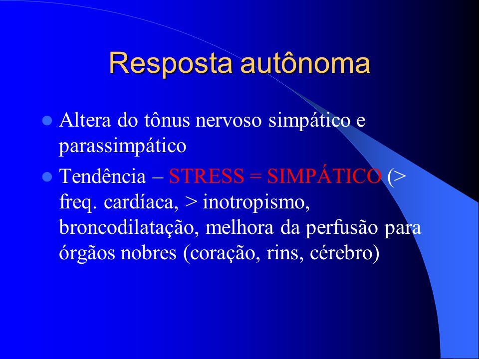 Resposta autônoma Altera do tônus nervoso simpático e parassimpático Tendência – STRESS = SIMPÁTICO (> freq. cardíaca, > inotropismo, broncodilatação,