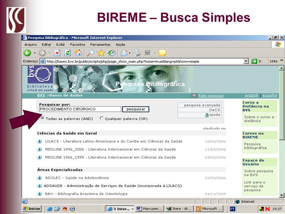 BIREME – Busca Simples
