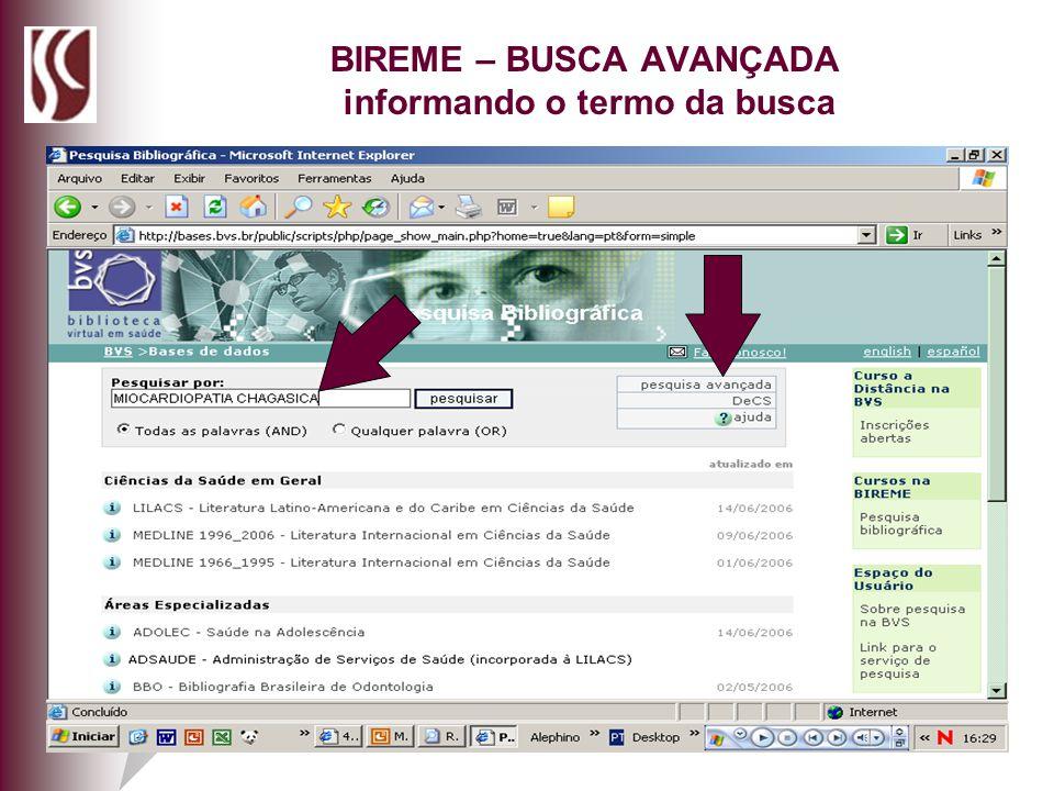 BIREME – BUSCA AVANÇADA informando o termo da busca
