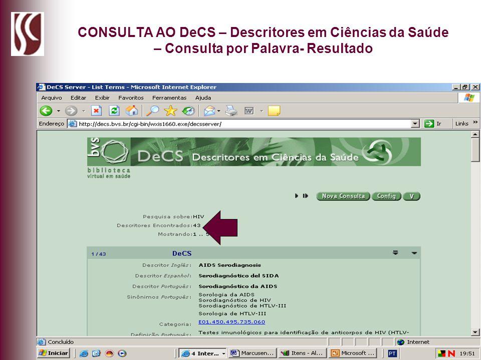 CONSULTA AO DeCS – Descritores em Ciências da Saúde – Consulta por Palavra- Resultado