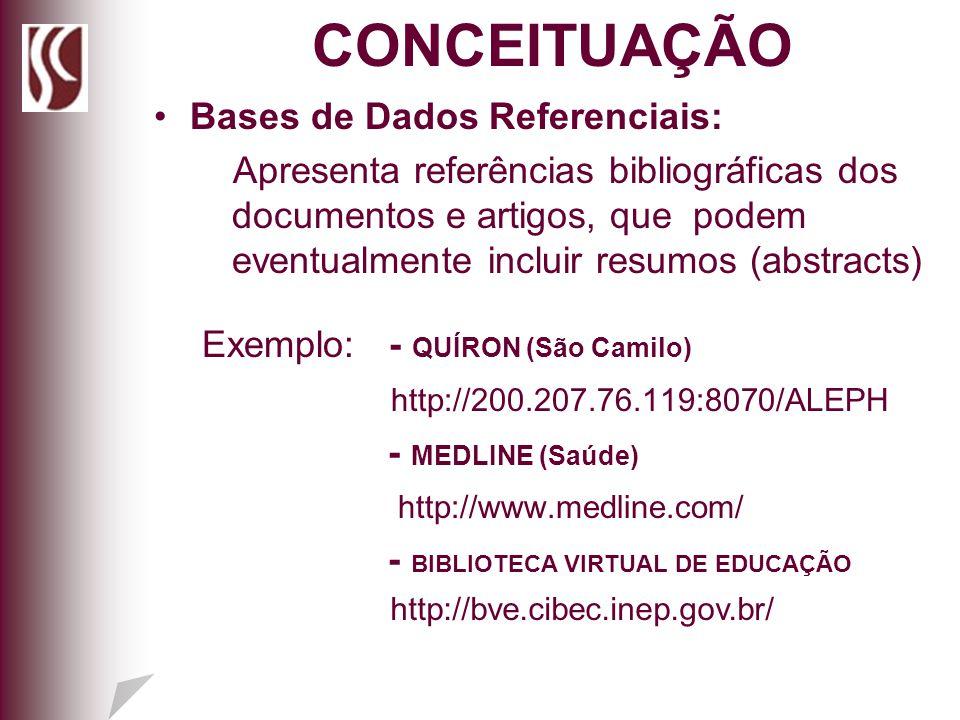 Bases de Dados Referenciais: Apresenta referências bibliográficas dos documentos e artigos, que podem eventualmente incluir resumos (abstracts) Exempl