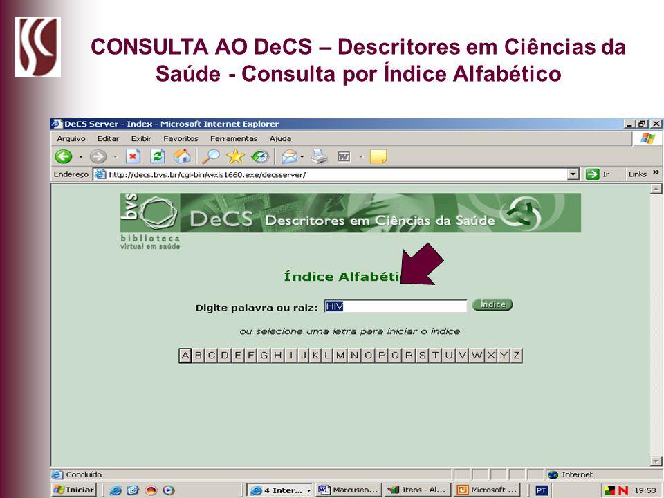 CONSULTA AO DeCS – Descritores em Ciências da Saúde - Consulta por Índice Alfabético