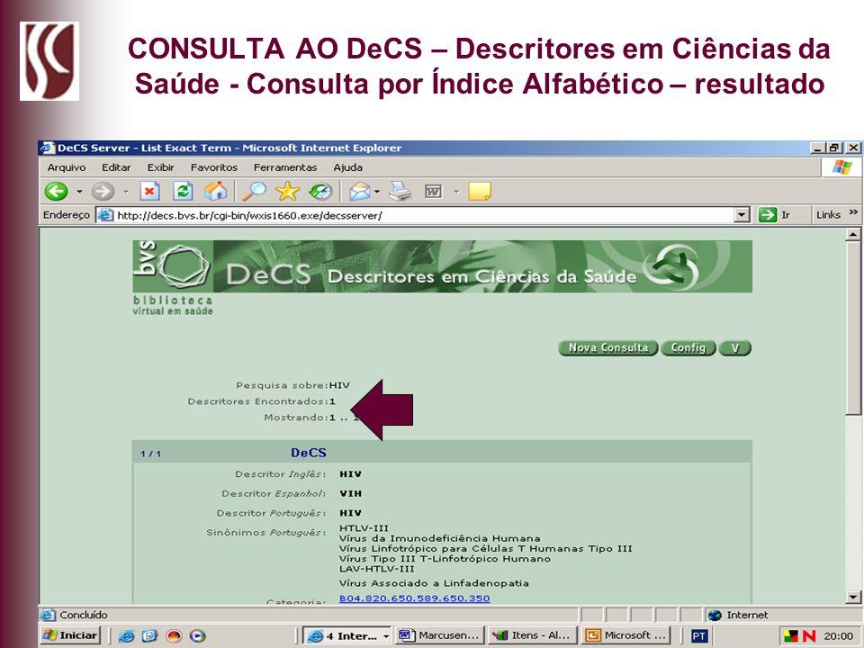 CONSULTA AO DeCS – Descritores em Ciências da Saúde - Consulta por Índice Alfabético – resultado