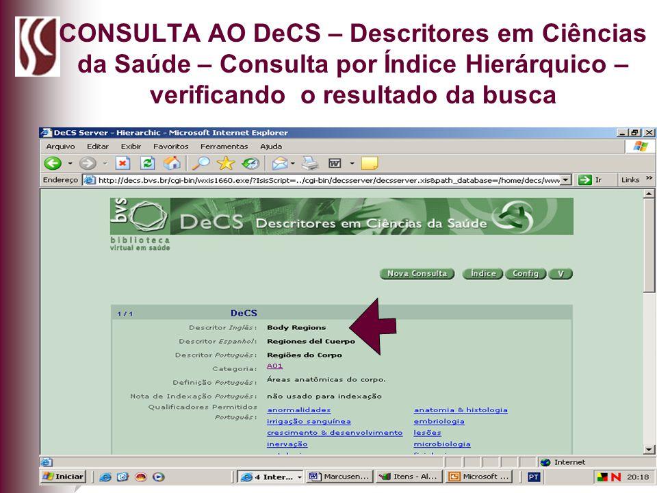 CONSULTA AO DeCS – Descritores em Ciências da Saúde – Consulta por Índice Hierárquico – verificando o resultado da busca