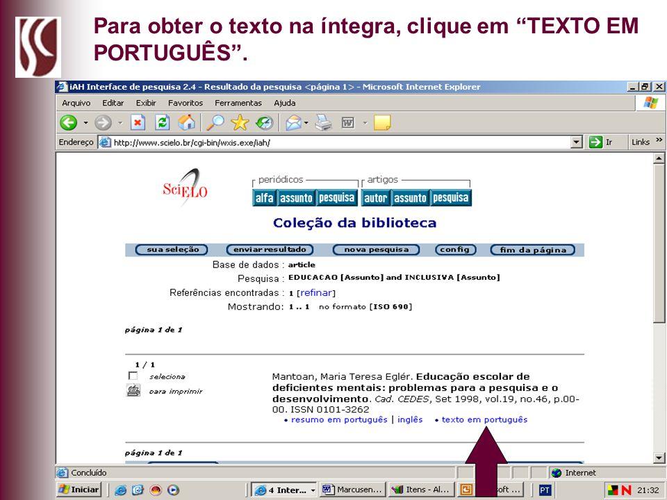 Para obter o texto na íntegra, clique em TEXTO EM PORTUGUÊS.