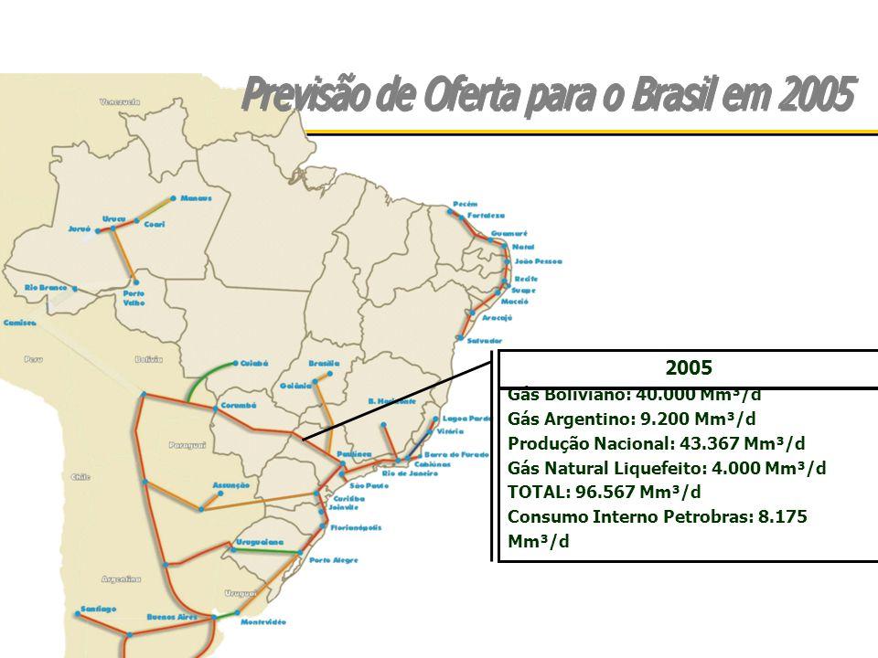 2005 Gás Boliviano: 40.000 Mm³/d Gás Argentino: 9.200 Mm³/d Produção Nacional: 43.367 Mm³/d Gás Natural Liquefeito: 4.000 Mm³/d TOTAL: 96.567 Mm³/d Consumo Interno Petrobras: 8.175 Mm³/d