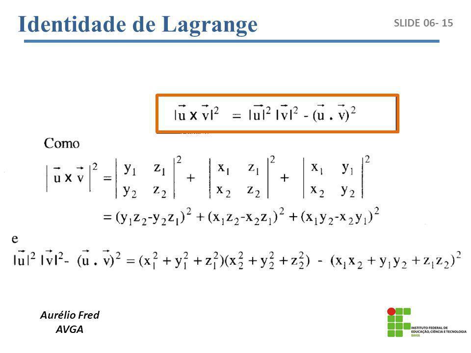 Aurélio Fred AVGA SLIDE 06- 15 Identidade de Lagrange