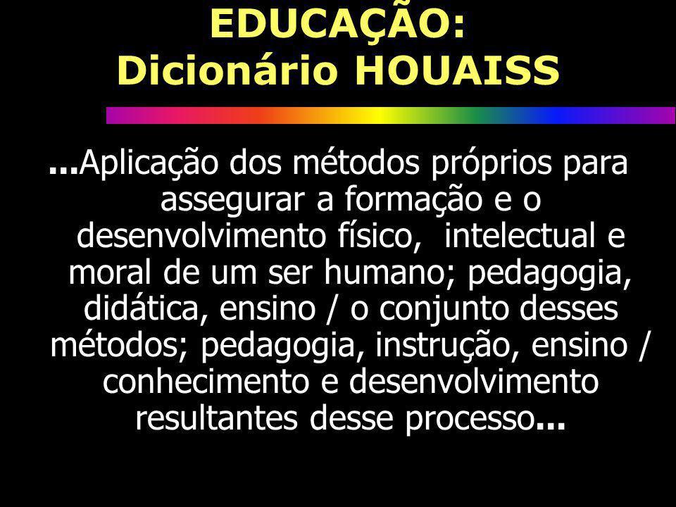 EDUCAÇÃO: Dicionário HOUAISS...Aplicação dos métodos próprios para assegurar a formação e o desenvolvimento físico, intelectual e moral de um ser huma