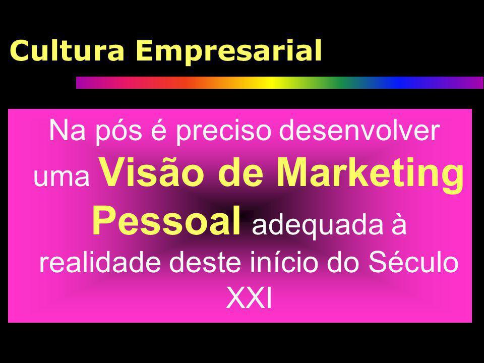 Cultura Empresarial Na pós é preciso desenvolver uma Visão de Marketing Pessoal adequada à realidade deste início do Século XXI