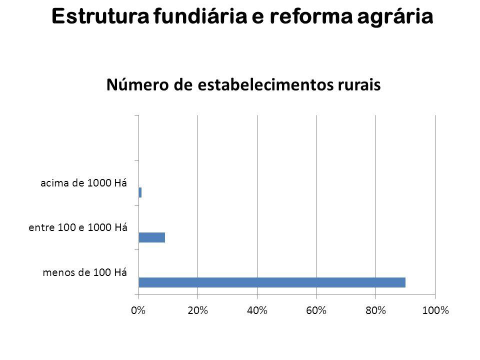 Estrutura fundiária e reforma agrária Número de estabelecimentos rurais