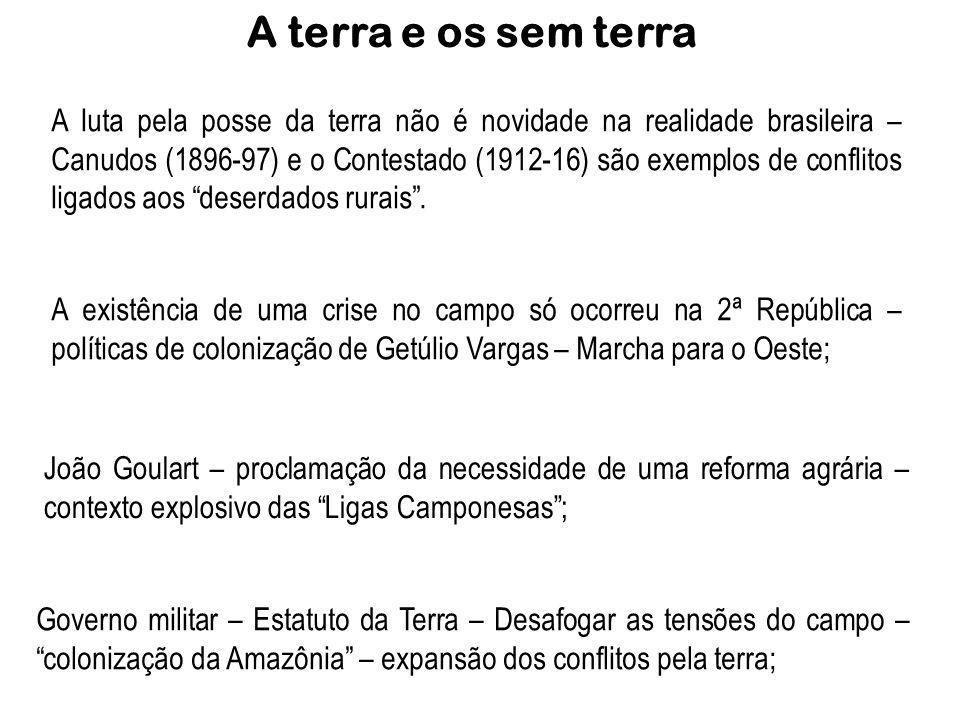 A terra e os sem terra A luta pela posse da terra não é novidade na realidade brasileira – Canudos (1896-97) e o Contestado (1912-16) são exemplos de