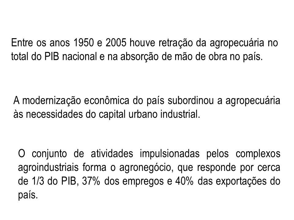 A modernização econômica do país subordinou a agropecuária às necessidades do capital urbano industrial. Entre os anos 1950 e 2005 houve retração da a