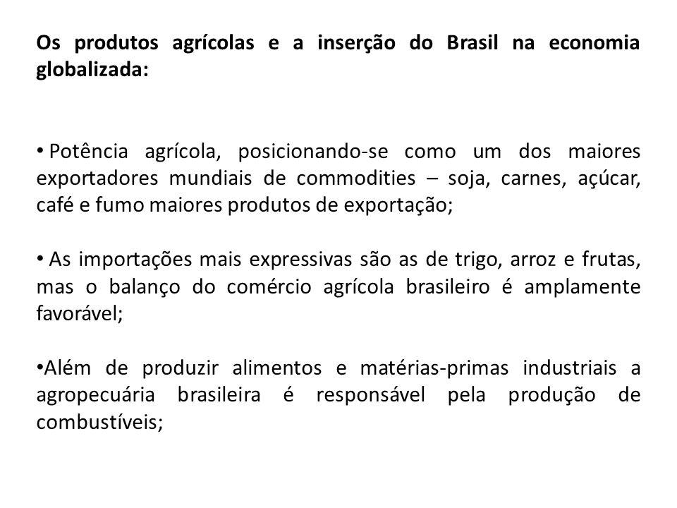 Os produtos agrícolas e a inserção do Brasil na economia globalizada: Potência agrícola, posicionando-se como um dos maiores exportadores mundiais de