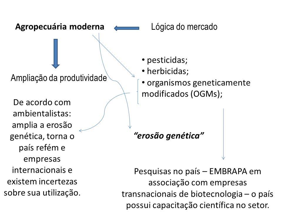 Agropecuária moderna Lógica do mercado Ampliação da produtividade pesticidas; herbicidas; organismos geneticamente modificados (OGMs); erosão genética