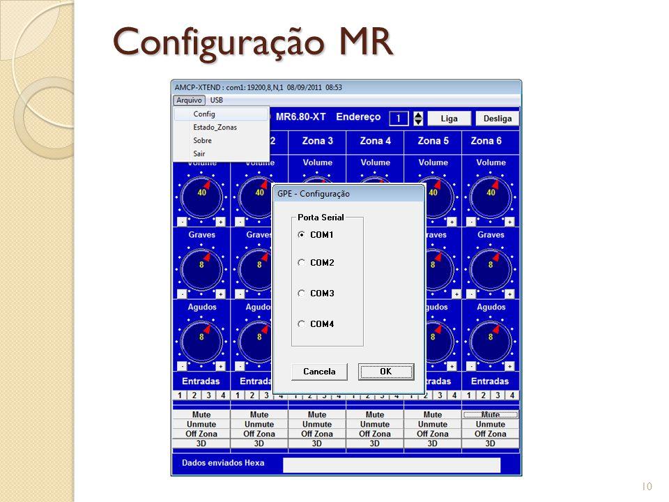 Comunicação MR 11 Comando enviado ao MR solicitando o status da zona 6 Pacote devolvido ao MR com as informações da zona 6