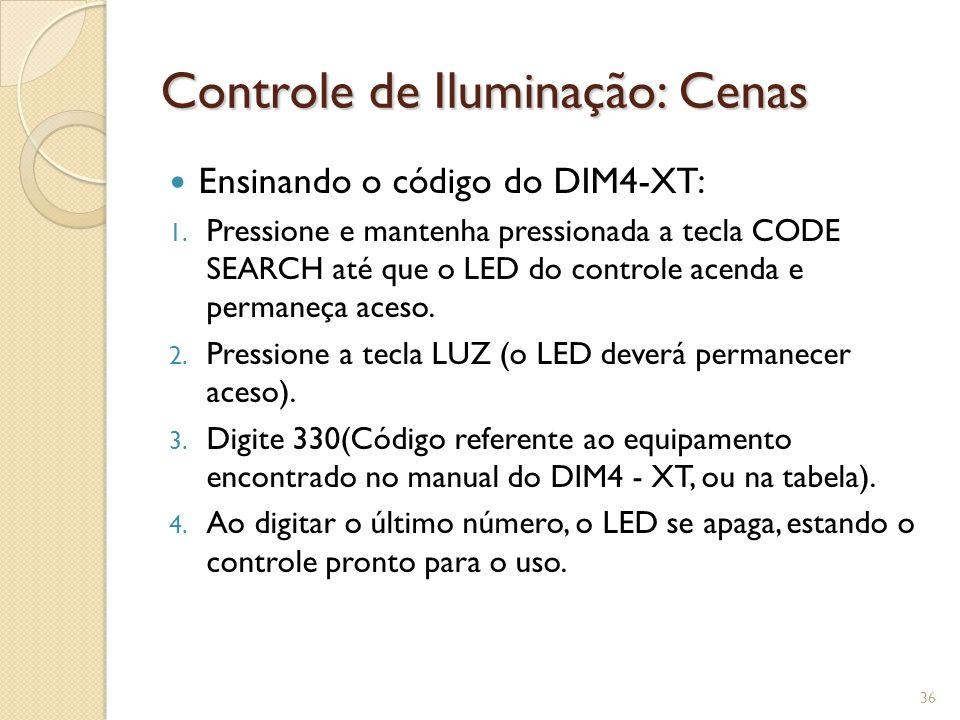 Controle de Iluminação: Cenas A comunicação com o DIM4 é feita por uma interface serial RS-485 segundo um protocolo definido pela AMCP.