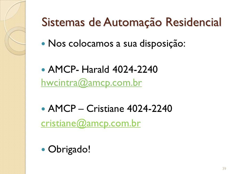 Sistemas de Automação Residencial Nos colocamos a sua disposição: AMCP- Harald 4024-2240 hwcintra@amcp.com.br AMCP – Cristiane 4024-2240 cristiane@amc