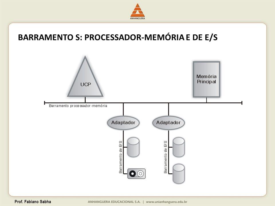 Prof. Fabiano Sabha BARRAMENTO S: PROCESSADOR-MEMÓRIA E DE E/S
