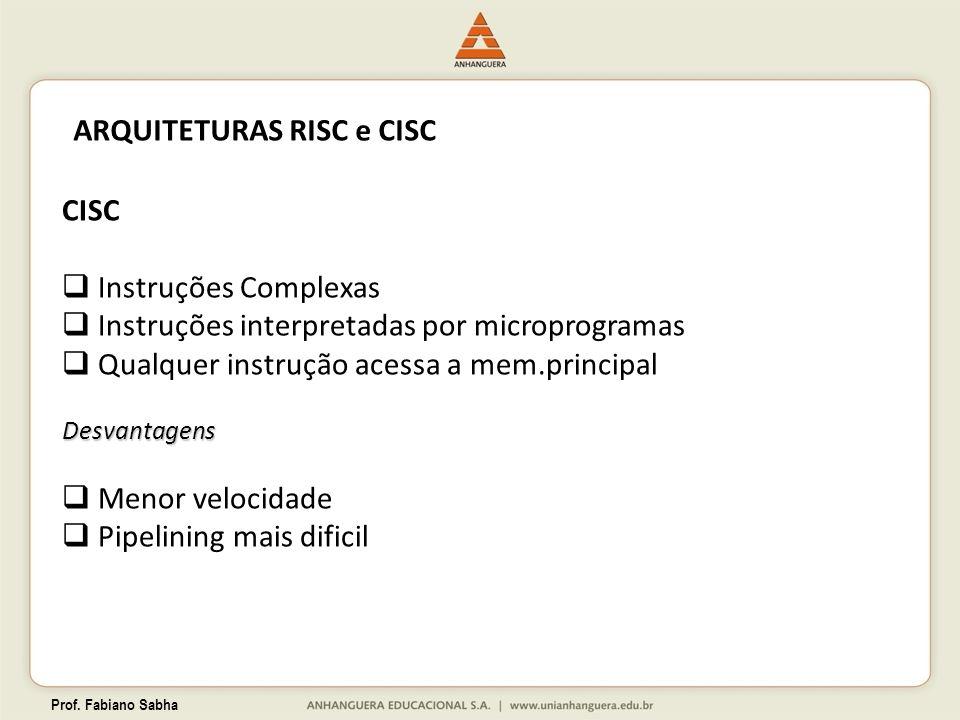 Prof. Fabiano Sabha ARQUITETURAS RISC e CISC CISC Instruções Complexas Instruções interpretadas por microprogramas Qualquer instrução acessa a mem.pri