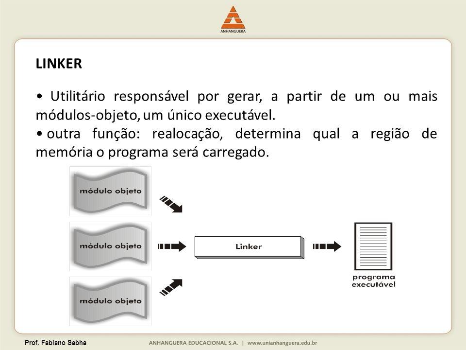 Prof. Fabiano Sabha LINKER Utilitário responsável por gerar, a partir de um ou mais módulos-objeto, um único executável. outra função: realocação, det
