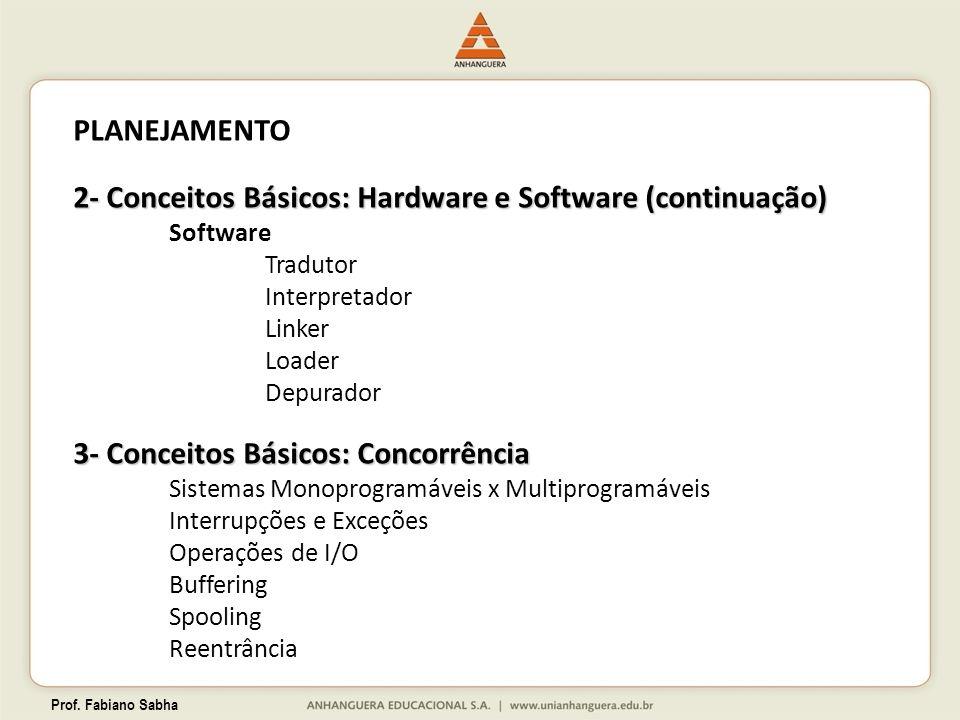 Prof. Fabiano Sabha PLANEJAMENTO 2- Conceitos Básicos: Hardware e Software (continuação) Software Tradutor Interpretador Linker Loader Depurador 3- Co