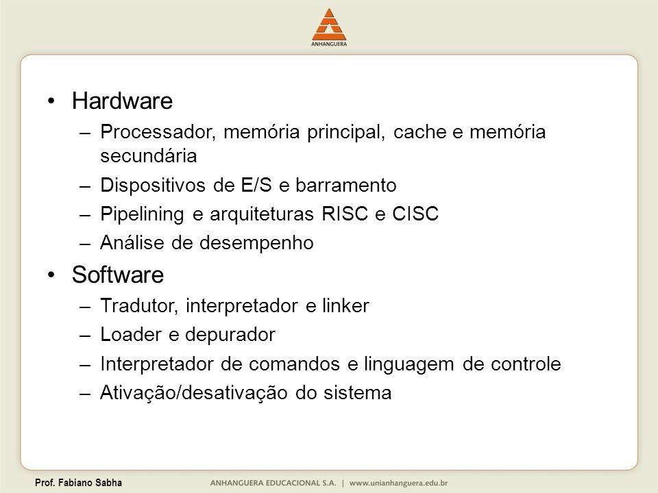 Prof. Fabiano Sabha Hardware –Processador, memória principal, cache e memória secundária –Dispositivos de E/S e barramento –Pipelining e arquiteturas