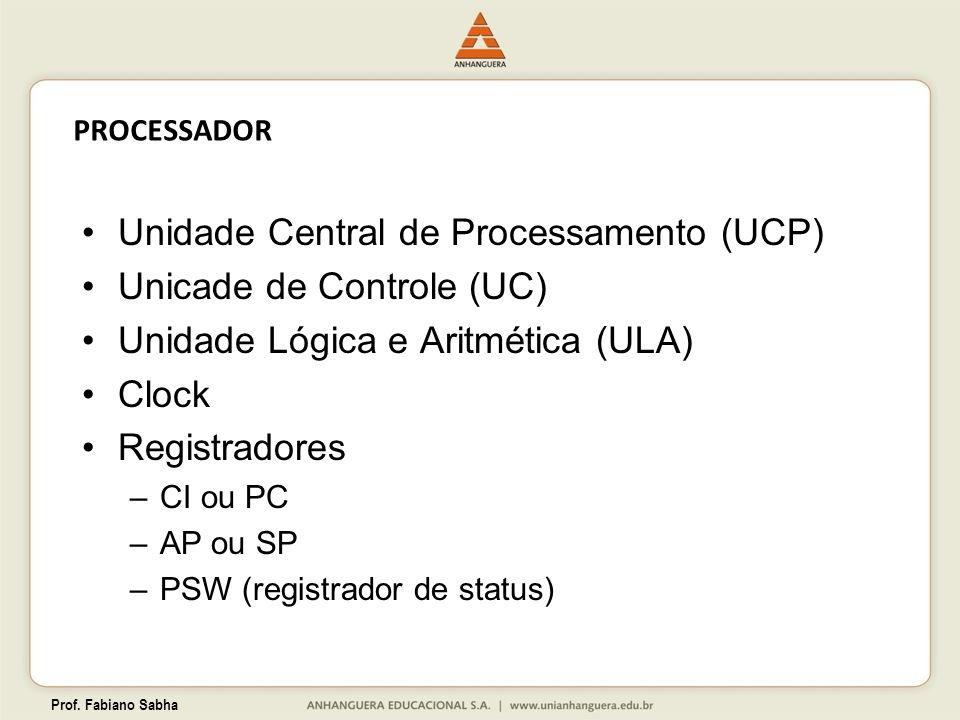 Prof. Fabiano Sabha PROCESSADOR Unidade Central de Processamento (UCP) Unicade de Controle (UC) Unidade Lógica e Aritmética (ULA) Clock Registradores