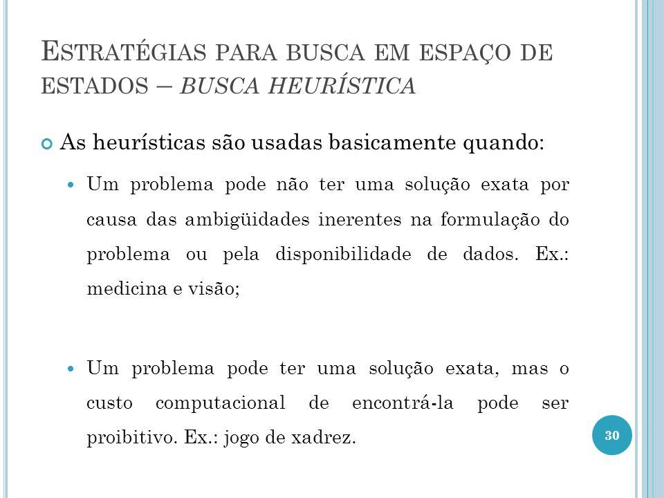 E STRATÉGIAS PARA BUSCA EM ESPAÇO DE ESTADOS – BUSCA HEURÍSTICA As heurísticas são usadas basicamente quando: Um problema pode não ter uma solução exata por causa das ambigüidades inerentes na formulação do problema ou pela disponibilidade de dados.