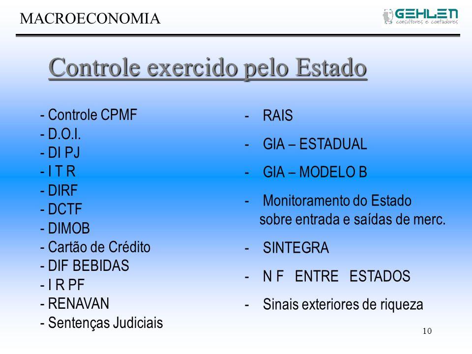 10 MACROECONOMIA Controle exercido pelo Estado - Controle CPMF - D.O.I.