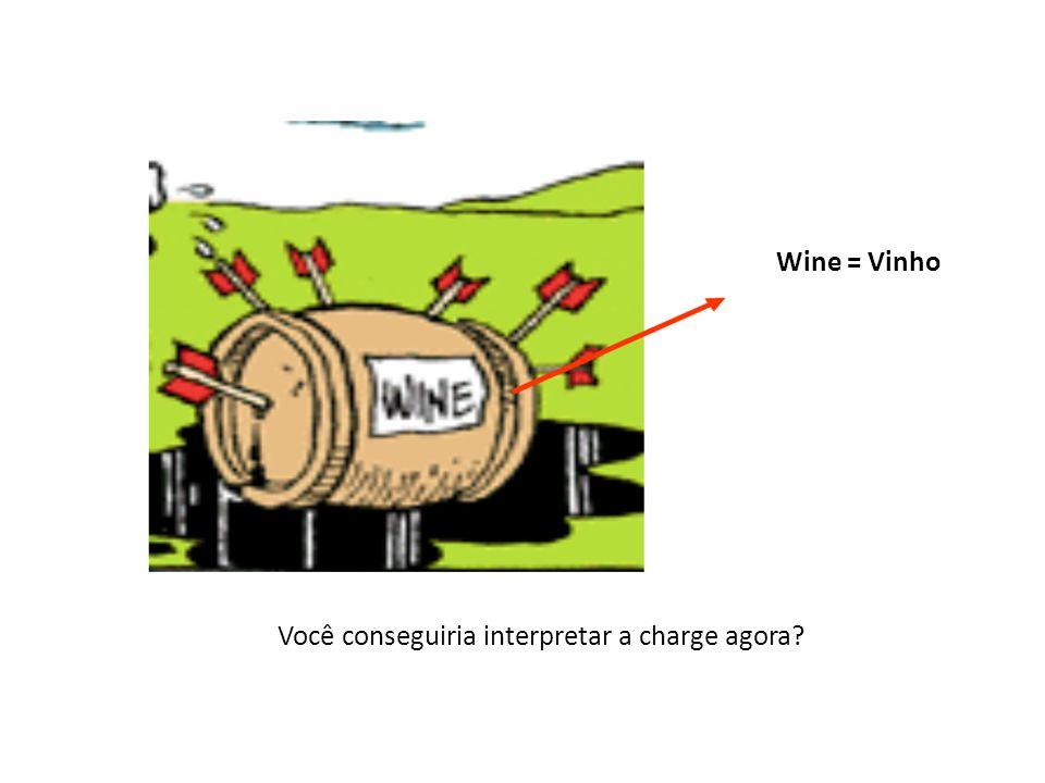 Wine = Vinho Você conseguiria interpretar a charge agora?