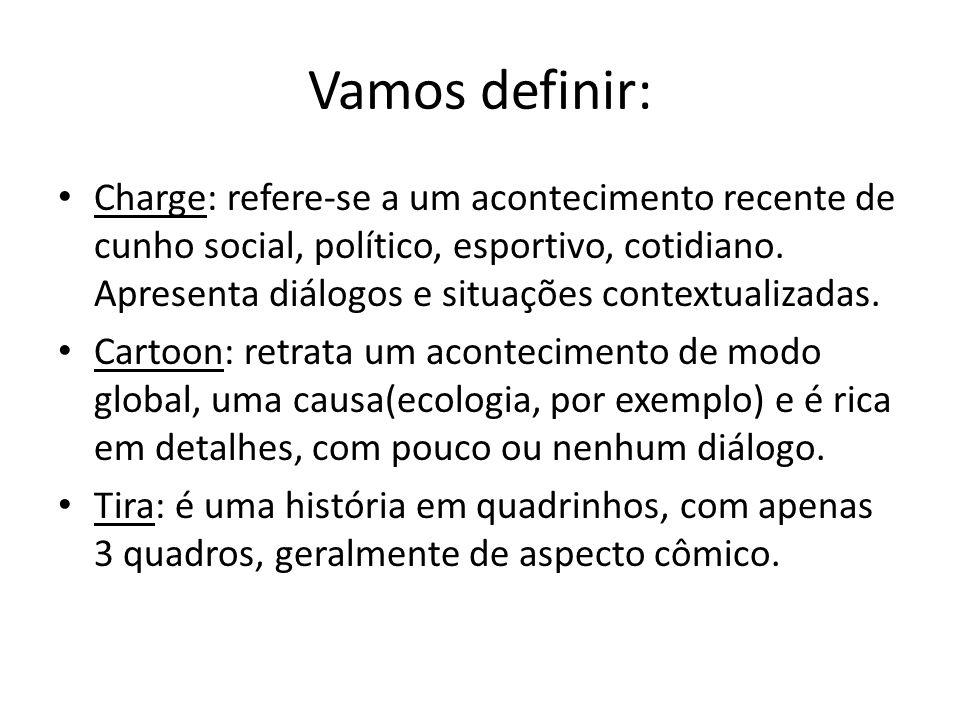 Vamos definir: Charge: refere-se a um acontecimento recente de cunho social, político, esportivo, cotidiano.