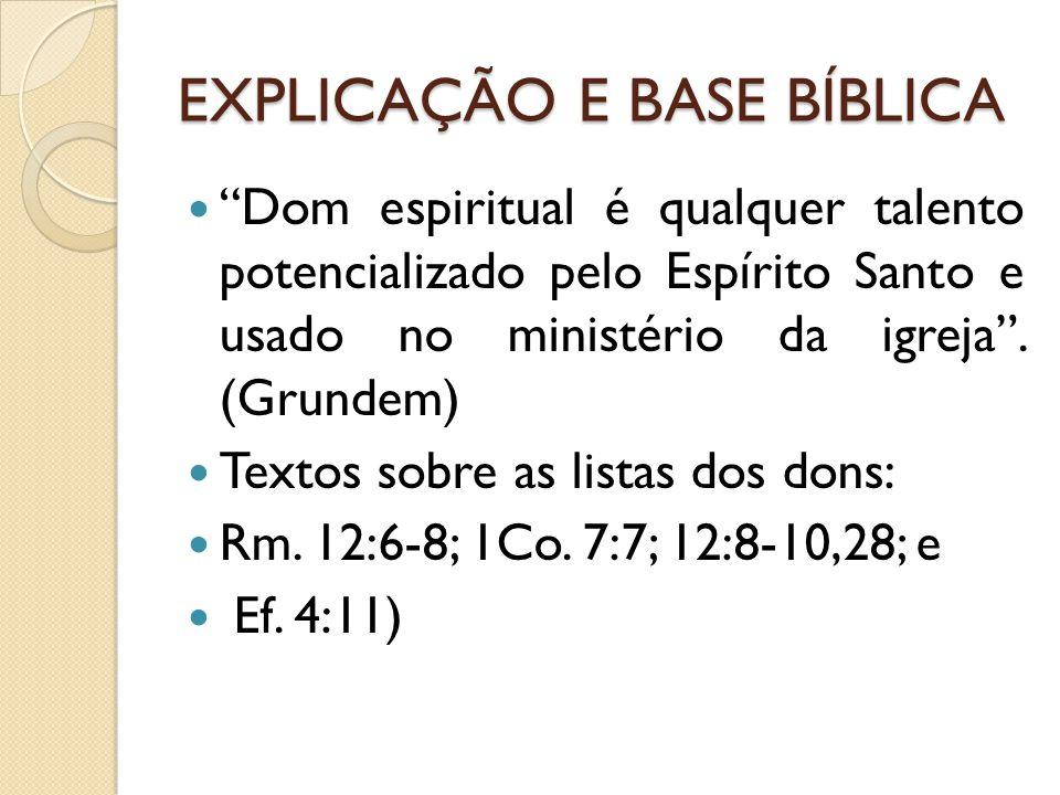 EXPLICAÇÃO E BASE BÍBLICA Dom espiritual é qualquer talento potencializado pelo Espírito Santo e usado no ministério da igreja. (Grundem) Textos sobre